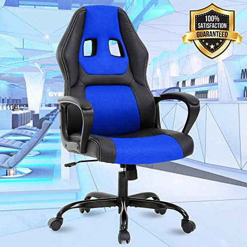 High Back Office Gaming Chair Desk Chair Ergonomic Computer Rolling Executive Chair with Lumbar Support and Comfort Armrest Swivel PU Leather Task Office Chair for Men Women, Blue blue chair gaming