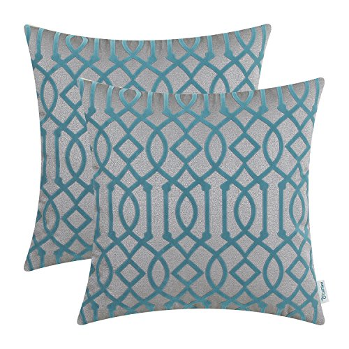 CaliTime Pack of 2 Cushion Covers Throw Pillow Cases Shells for Home Bench Sofa 45cm X 45cm, Flocking Modern Geometric Trellis Chain, Grey Teal
