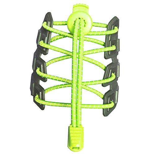 Canwn [2 Paar] Elastische Schnürsenkel mit Schnellverschluss, Reflektierend Schnellschnürsystem mit 120cm Länge für Läufer, Kinder, Faule,ältere Menschen und aktiven Lebensstil(Neon Gelb)