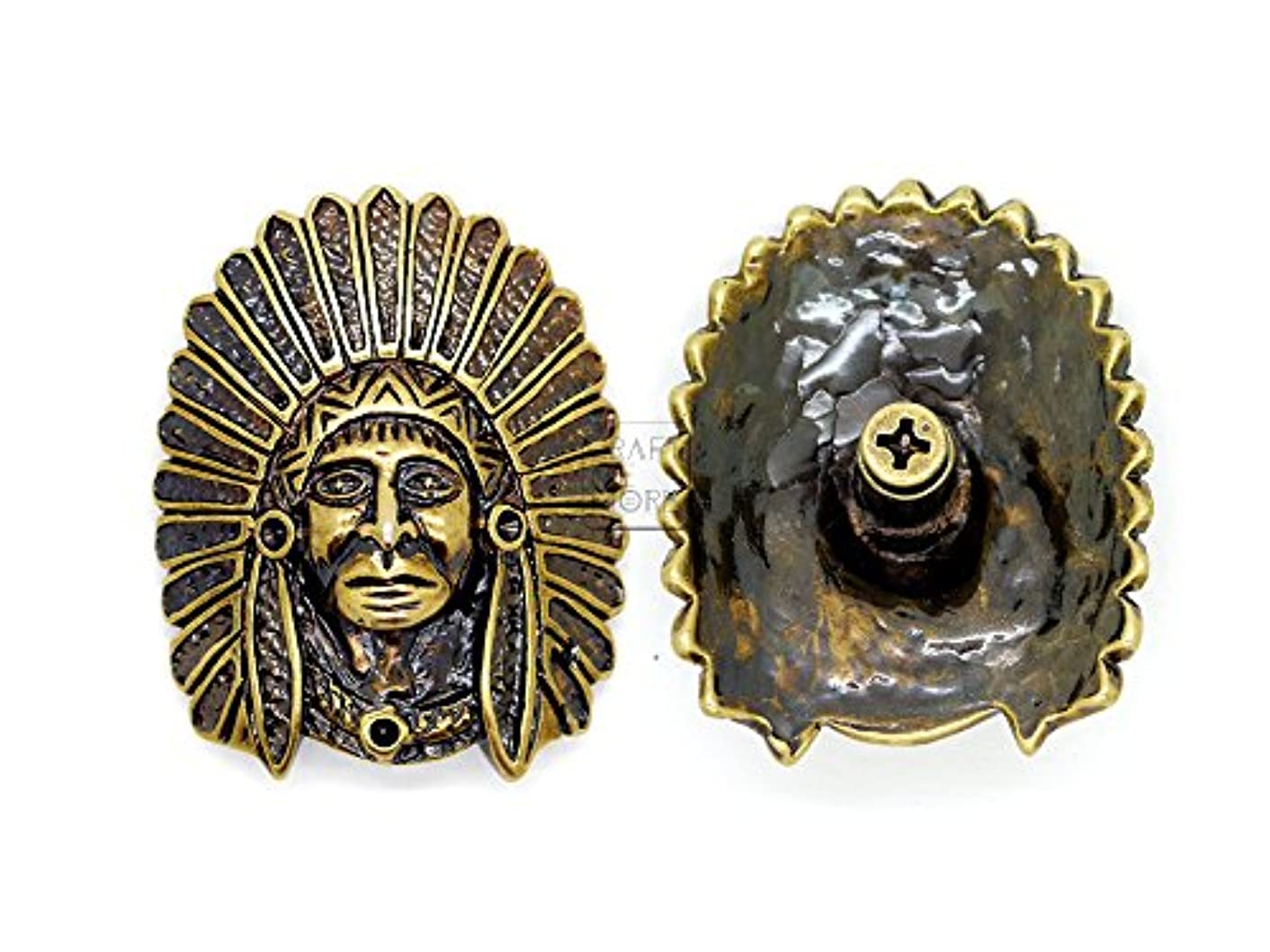 CRAFTMEmore 32x40 mm Indian Tribal Chief Head Concho Screw Back Leathercraft Decorations Pack of 2 HQR108 (Bronze)