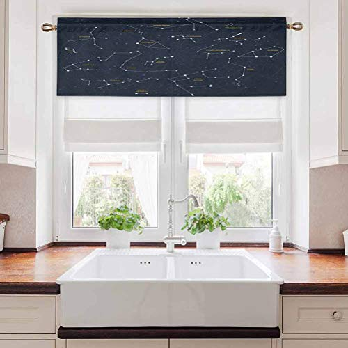 Aishare Store Curtains Valance, Sky Map Andromeda Lacerta Cygnus Lyra Hercules Draco Bootes Lynx, 36' W x 18' L Energy Saving Curtain Valances for Living Room, Dark Blue Yellow White