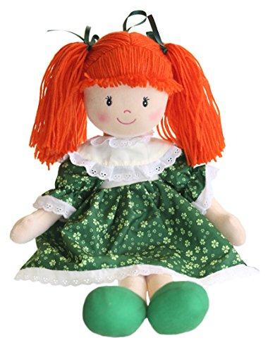 "Sinead Irish Rag Doll With Green Shamrock Dress 11"" In Height"