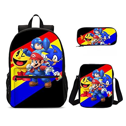 Zaino 3 pz/lotto Super Mario Vs Sonic Bambini Zaino Stampa Sacchetto di Scuola Set per Adolescenti Bambini Ragazze Bookbag Satchel Schoolbag Mochila Escolar