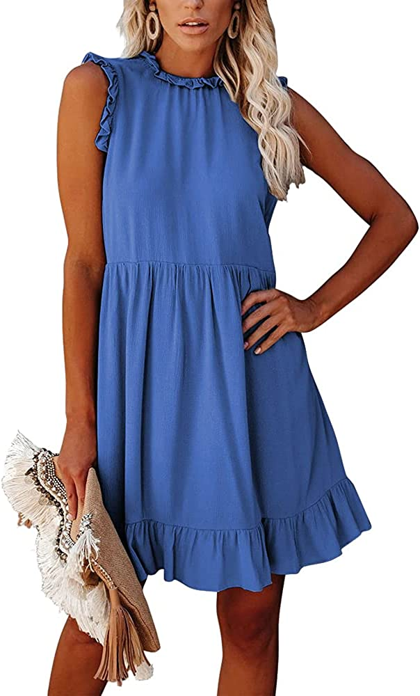 Women's Summer Vest Sleeveless Lace Dress Party Beach Loose Slim Fit Comfortable Waist Bandage Casual