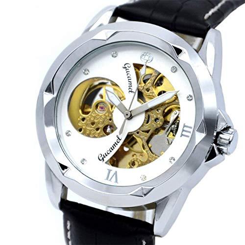 ZGZXD Männer Klassische Mechanische Uhren, Jungen Wasserdichte Freizeitmode Retro-Multi-Funktions-Business-Uhren,A