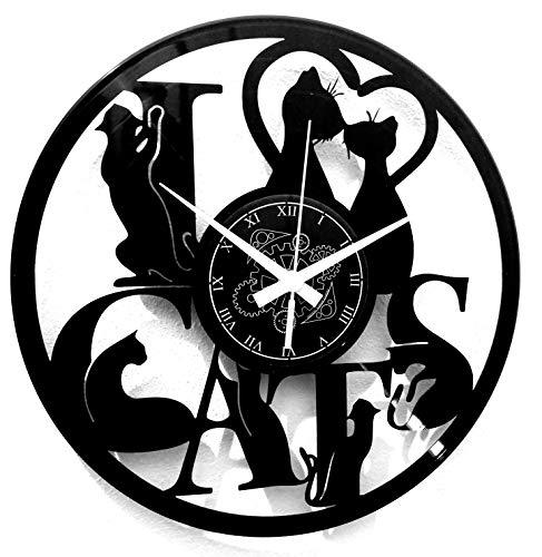 Instant Karma Clocks Horloge Murale en Vinyle I Love Cats Animaux domestiques Amoureux des Chats