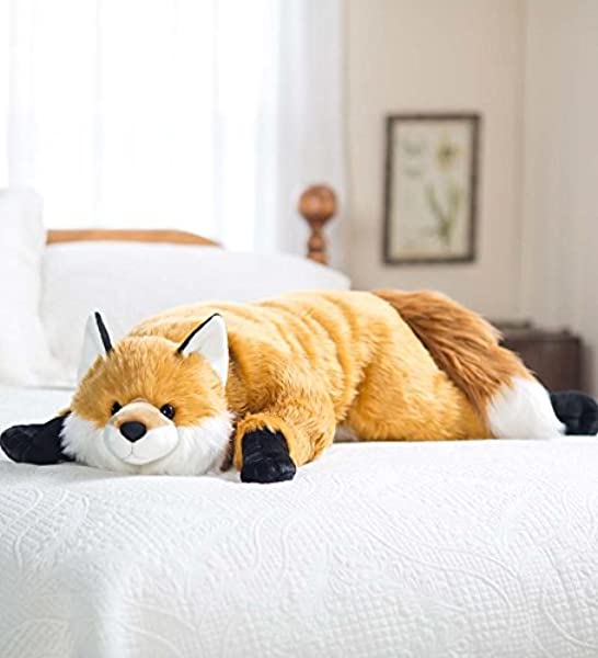Fuzzy Fox Animal Giant Plush Stuffed Body Pillow For Kids Teens Adults Soft Dense Fur Beaded Eyes Weighted Paws Bed Accessories Toys Cuddly Critters Bedroom Decor 4 Feet Long
