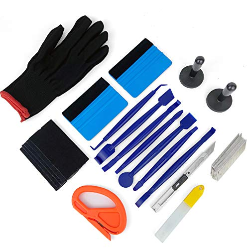 CARTINTS Car Install Tools for Vinyl Wrap, Vehicle Tint Window Film Kit Includes Vinyl Wrap Magnets, Edge Trimming Tools, Felt Squeegee, Wrapping Cutter, 9mm Knife