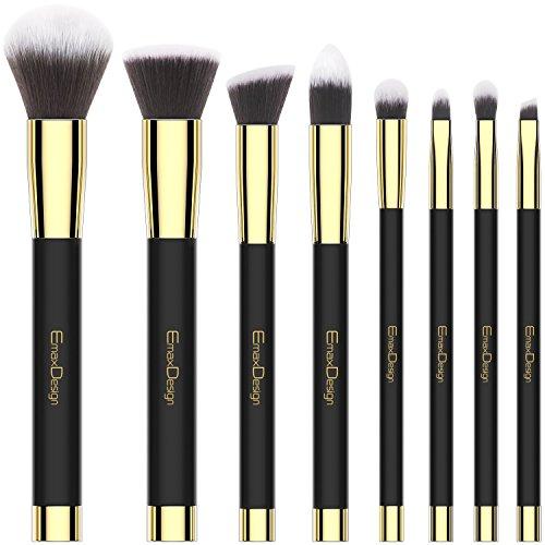 Emaxdesign 8 pièces Pinceaux de maquillage visage Fard à paupières Eyeliner Fond de teint Blush à lèvres Pinceaux de maquillage Poudre Liquide Crème Cosmetics Estompeur outils Doré (Noir)