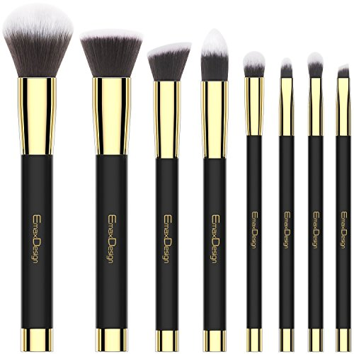 Makeup Brushes EmaxDesign 8 Pieces Makeup Brush Set Face Eye Shadow Eyeliner Foundation Blush Lip Powder Liquid Cream Cosmetics Blending Brush Tools Golden Black