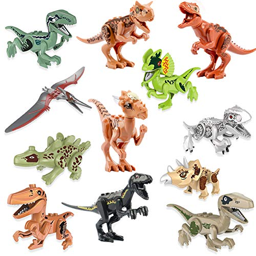Dinosaur Toys 12 Pack Mini Dinosaur DIY Action Figures Building Blocks,Jurassic Theme Dinosaur Building Blocks Toy Plastic Playsets, Educational Gift for Kids