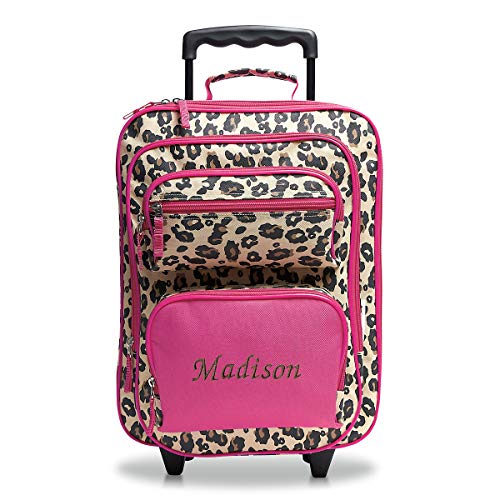 "Personalized Rolling Luggage for Kids – Leopard Spots Design, 5"" x 12' x 20'H, By Lillian Vernon"