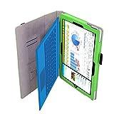 NAUC Microsoft Surface Pro 3 Cover Tasche Schutzhülle mit praktischer Stand Funktion Hülle aus robustem Kunstleder kombiniert Schutz & Design Hülle Hülle Grün