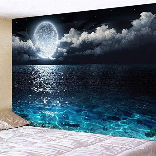 WERT Impresión 3D Sea Moonsun decoración del hogar Tela de Fondo de Tapiz montado en la Pared para decoración de Dormitorio y Sala de Estar A3 73x95cm