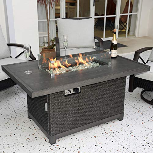 Kinger Home Propane Fire Pit Table 52 Inch, 50,000 BTU Rattan Wicker Gas Fire Pit Table for Outdoor Patio, Slide Out Tank Holder, with Glass Wind Guard, Glass Beads, Cover, and Lid, Gray