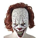 KCGNBQING Máscara de Payaso Halloween Payaso de Regreso al Alma Máscara de Horror Maquillaje Mascarada Disfraz Props Adulto Látex Partido Holiday Haunted House Cosplay Headgear Blanco