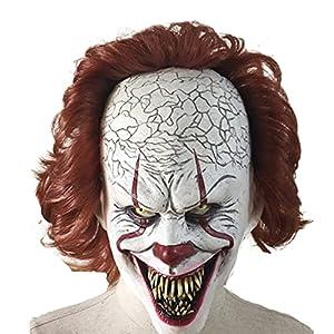 KCGNBQING Clown Maschera di Halloween Clown Back To The Soul Maschera Orrore Trucco Masquerade Costume Puntelli Adulti Latex Partito di Festa Haunted House Cosplay Copricapo Bianca Halloween