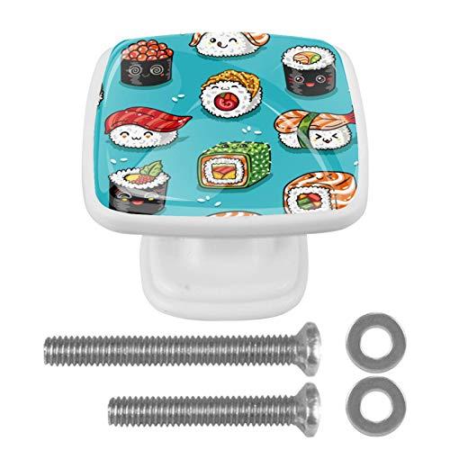 Pack de 4 pomos cuadrados de ABS para cajón, tiradores de gabinete sin terminar, accesorios para cajón, armario, aparador, bonito patrón de sushi japonés kawaii