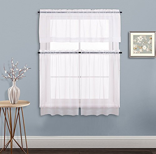 NICETOWN Kitchen Window Curtain Set - Elegant Home Fashion Voile Drapes Tailored Sheer Drapery Tier & Valance Set for Small Window(3 Panels, White)