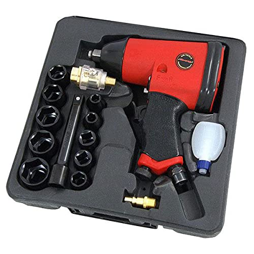 Professional 17 Piece 1/2' Drive Air Impact Wrench Gun Kit with 10 Impact Sockets and Storage Case