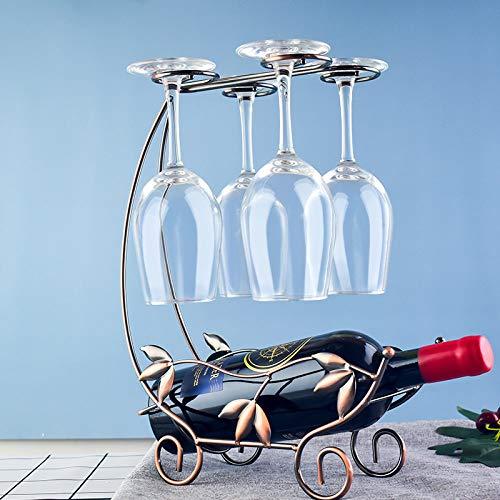 Wijnflessenhouder wijnhouder, strijkijzer kunst brons Sakula bloem boot glas ophanging design, modern vintage rustieke metalen decoratieve ornamenten voor moderne thuisbar keuken tafel Kerstmis