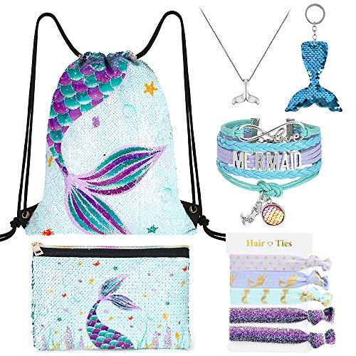 WERNNSAI Meerjungfrau Kordelzug Rucksack - 10 Stück Pailletten Meerjungfrau Geschenk für Mädchen Turnbeutel Makeup Taschen Armband Halskette Haargummis Schlüsselanhänger