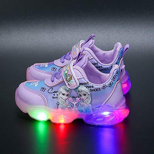 DTZW Mädchen Laufschuhe mit LED-Beleuchtung, atmungsaktiv, lässig, Outdoor, Kinder, blinkend, athletische Sneaker, leichte Schuhe (Größe: 26, Farbe: Violett)