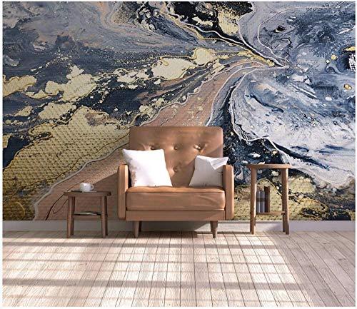 Papel tapiz fotográfico Patrón de mármol amarillo azul 400x280 cm -8 pieces Lana Decoración De Pared Sala Cuarto Papel pintado tejido no tejido Decoración de Pared decorativos