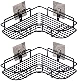 Étagères de Douche d'angle, Rangement Mural pour Organisateur de Douche, étagères de Salle de Bain avec Autocollant Adhésif pour Accessoires de Cuisine et de Salle de Bain, Paquet de 2, Noir