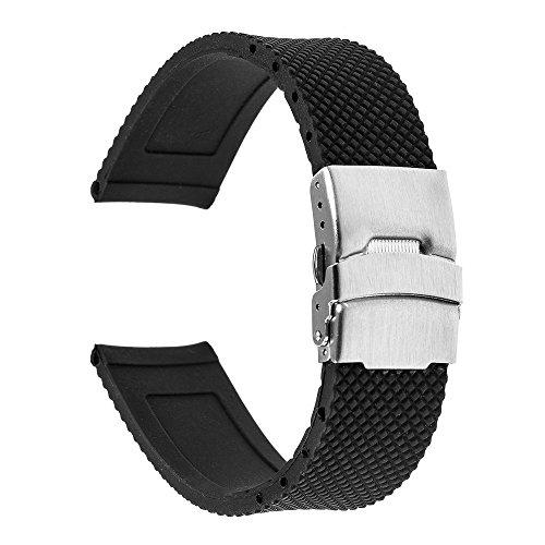 TRUMiRR 22mm Silicone Rubber Watch Band Strap for Samsung Gear S3 Classic Frontier, Gear 2 R380 R381 R382, Ticwatch Pro 3, Zenwatch 1 2 Men, Galaxy Watch 46mm / Watch 3 45mm, LG G Watch Urbane, Black