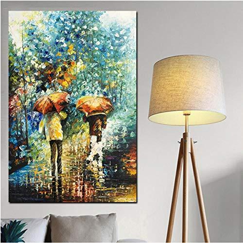 Ywsen Hand Painted Artistieke Verticale Mensen met Paraplu zacht Landschap Abstract Olieverfschilderij op Linnen Doek Poster 90x60cm Geen frame