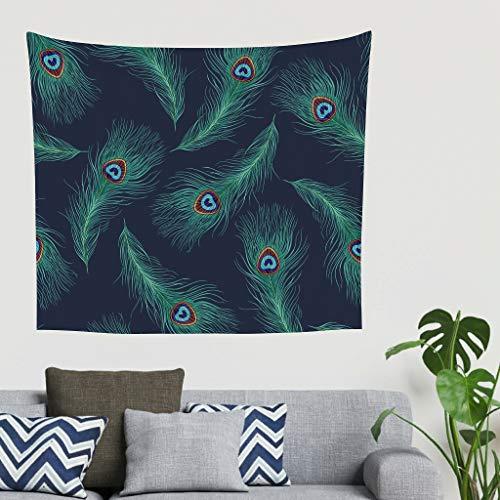 BOBONC groene pauwenveren wandtapijt wandkleed Berg Picnic Beach Sheet Yoga Mat, Home Decor voor woonkamer slaapkamer Decor