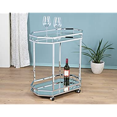 Chrome Metal Bar Tea Wine Bottle Holder Serving Cart With Tempered Glass Top / Mirror Bottom