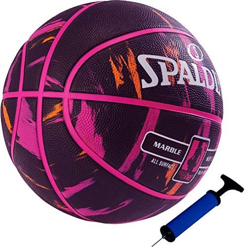 Spalding Basketball NBA 4her Outdoor schwarz/pink Größe 6 + Ballpumpe
