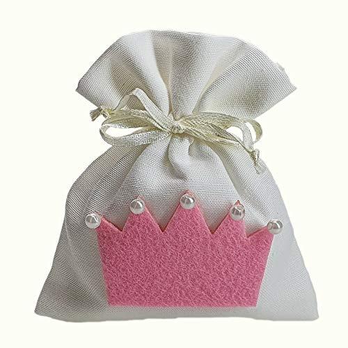 Steffanazzi 20 stuks gastgeschenken om zelf te maken van stof met decoratie voor gastgeschenken, gastgeschenken, doop, confirmatie, huwelijk, verjaardag, feest of sieraden Roze 5