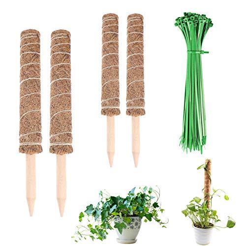 CHENKEE Totem-Stange, 42cm 2 Stück Kokosstab Mit 100 Stück Gartenkabelbinder Kokosmoosstab Für Haus Garten Kletterpflanze Erweiterung Der Pflanzenstütze