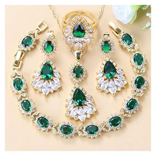 HappyL 6 Colores Mujeres Disfraz De Boda Garnet Crystal Gold Four Piece Damas Joyería (Color : Green 4PCS, Size : 9)