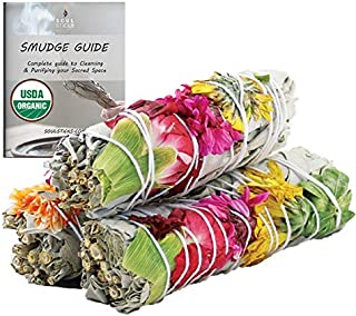 Joy Organic White Sage Smudge Sticks with Flowers 3 Pack for Cleansing Home, Meditation, Yoga, Healing and Smudging   Sust...