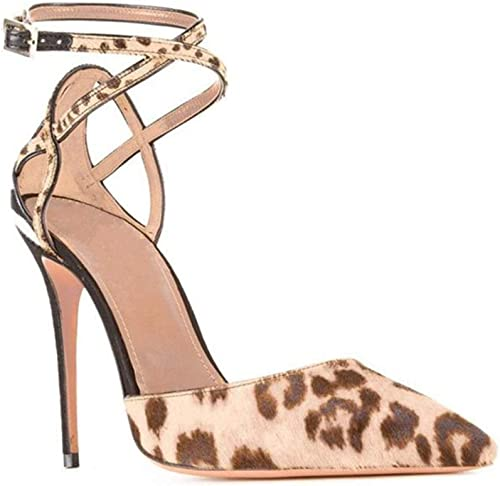 WHL.LL Aux femmes Pointu Bout fermé Beau talon Des sandales Creux Sangle de cheville Boucle Talon haut Des sandales Mode Chaussures de passerelle (Hauteur du talon  11cm)