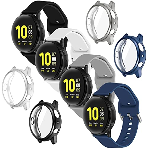 シリコン時計バンド クイックリリース時計ストラップ 4ピース交換用ケース Galaxy Watch Active 2対応 4色 (ブラック、ダークブルー、グレー、ホワイト、40mm)