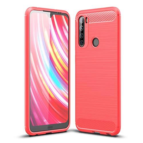 ZDCASE Redmi Note 8T Funda, Fibra de Carbon Cepillado A Prueba de choques TPU Suave Ultradelgado Flexible Fit Protectora Funda para Xiaomi Redmi Note 8T - Rojo