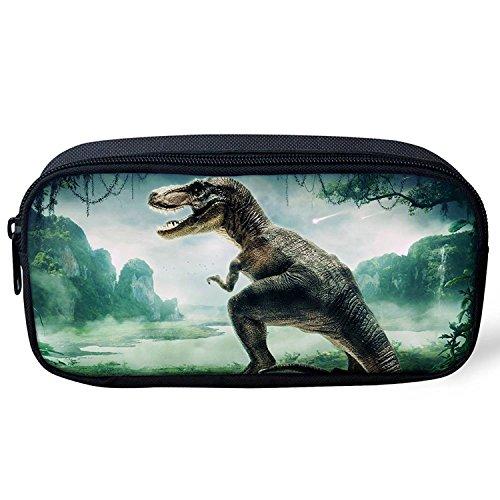 ThiKin ペンポーチ ペンケース 筆箱 かわいい 恐竜 化粧ポーチ 学生 人気 大容量 Pencil Case
