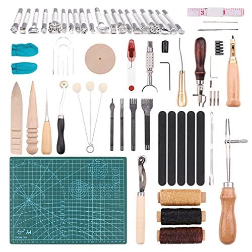 Kit de Artesanía de Cuero, 55 Piezas Kit de Herramientas de Cuero para Manualidades Juegos y Kits de Costura Herramientas Costura de Cuero Herramienta de Artesanía para Bricolaje DIY