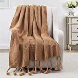 Revdomfly Brown Throw Blanket Knitted Throw Blanket with Fringe Tassels Warm Cozy Woven Blankets for Couch Bed Chair, 51.2' x 67'