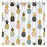 Funnytree Summer Pineapple Glitter Shower Curtain Set with Hooks Colorful Tropical Fruit Cute Bath House Bathroom Bathtubs Decor Easy Care Washable Durable Polyester Fabric 72