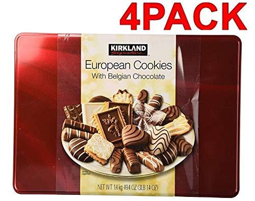 Cos-Sl Kirkland European Cookies with Belgian Chocolate 15 Variety Flavors (4 Pack 49.4 Oz Box)