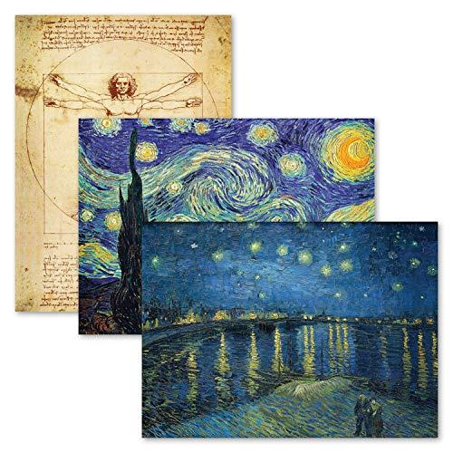 3 Pack - Vitruvian Man by Leonardo Da Vinci + Starry Night & Over The Rhone by Vincent Van Gogh - Fine Art Poster Prints (Laminated, 18' x 24')