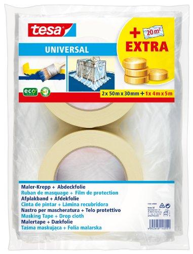Tesa 55421-00000-00 2 Rollos De Cinta De Pintar Y 1 Plástico Cubrición
