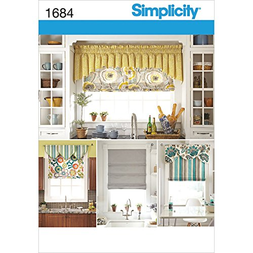 Simplicity 1684 Roman Shades and Valances Sewing Pattern, Fits 35'' and 40'' Wide Windows