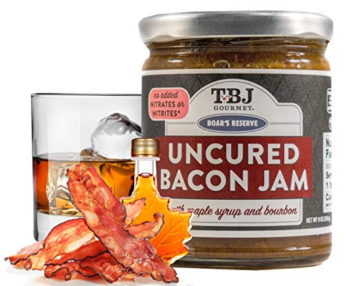 TBJ Gourmet Maple Bourbon Bacon Jam - Original Recipe Bacon Spread - Uses Real Bacon, No Preservatives - Authentic Bacon Jams - 9 Ounces